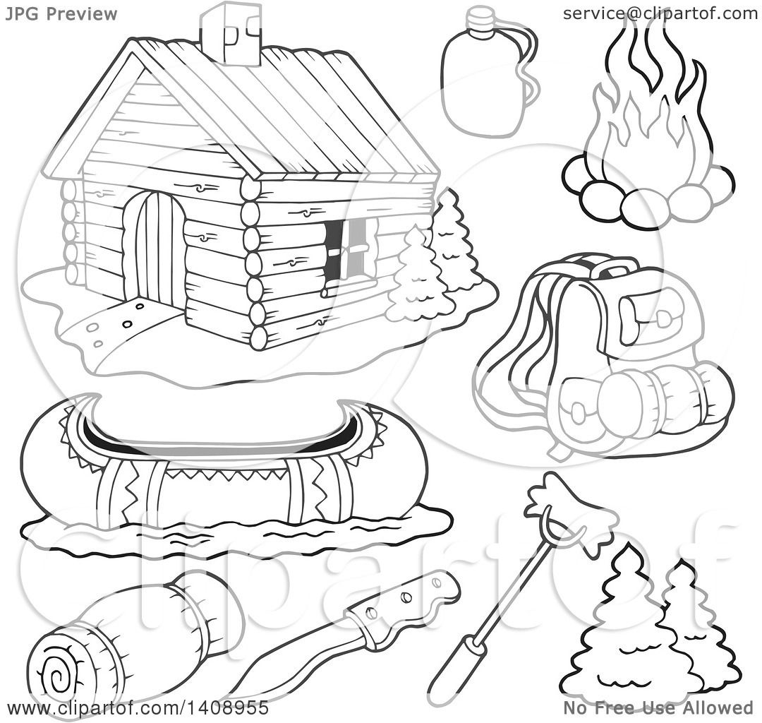 1080x1024 Clipart Of A Black And White Lineart Cabin And Recreation Items