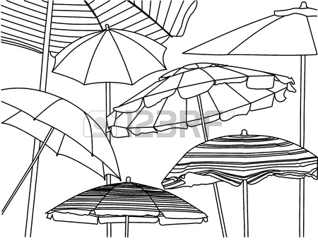 450x351 A Line Drawing A Lifeguard Shack Sitting On The Beach Stock Photo
