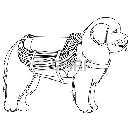 450x450 St Bernard Dog Lifesaver Outline Vector Illustration Royalty Free