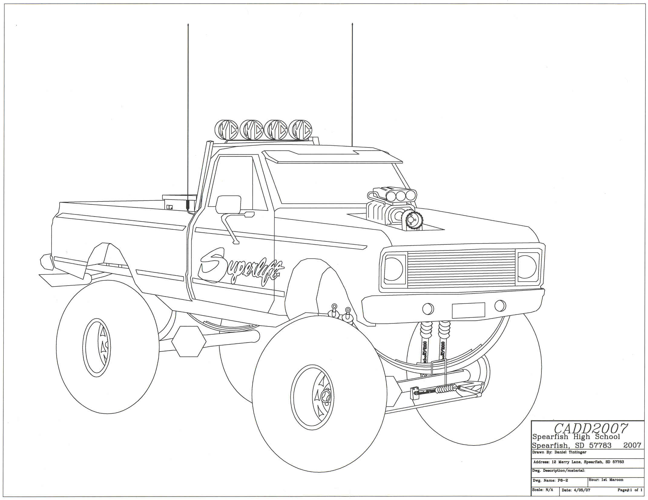 lifted truck drawing at getdrawings com