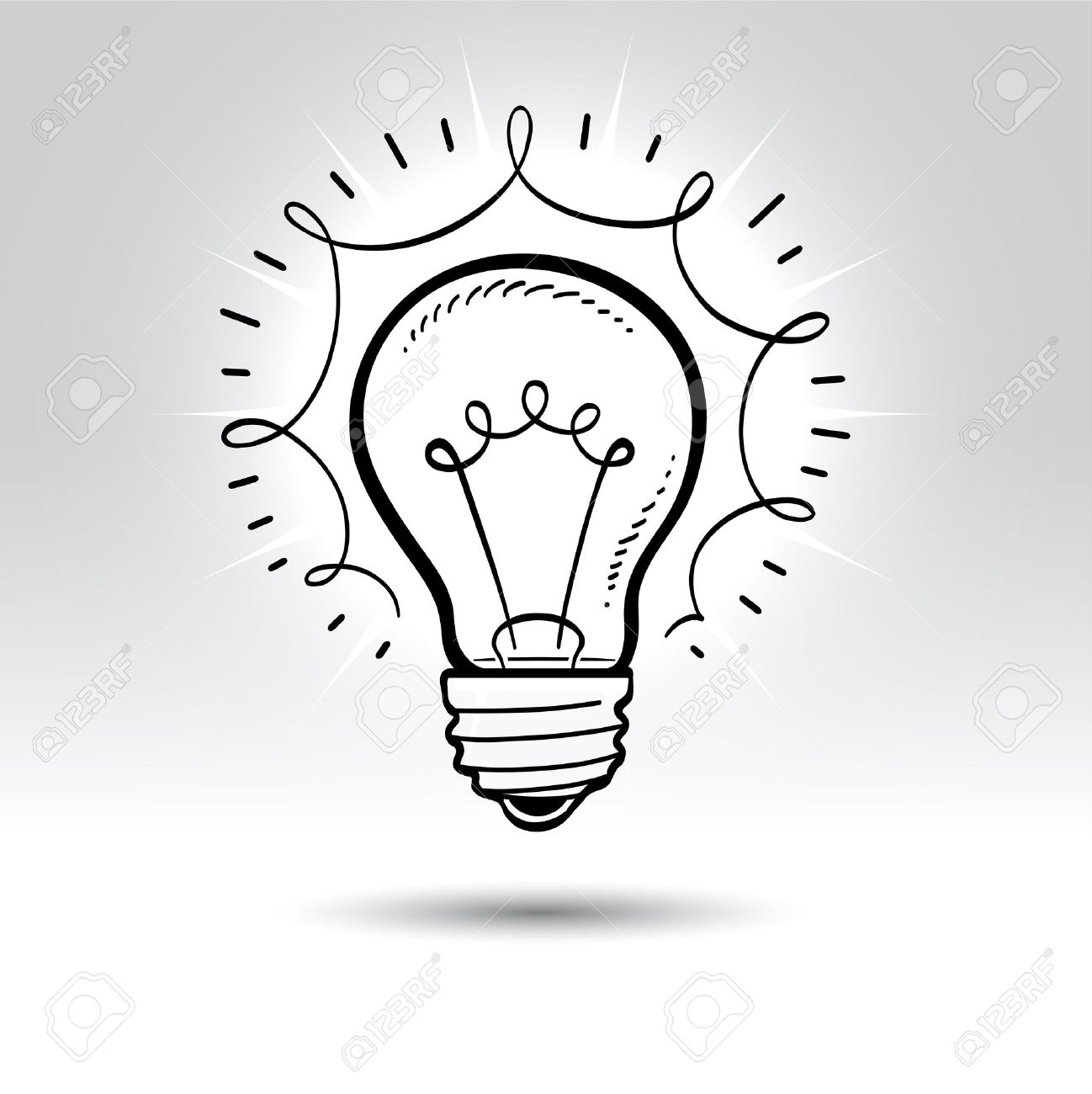1298x1300 Light Bulb Drawing. Royalty Free Cliparts, Vectors, And Stock