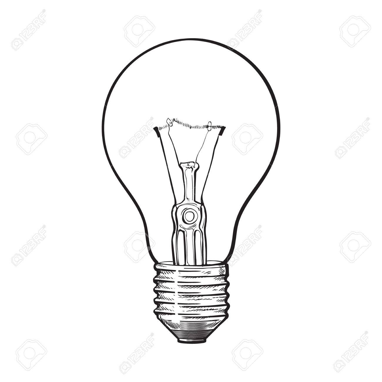 1300x1300 Traditional Transparent Tungsten Light Bulb, Side View, Sketch