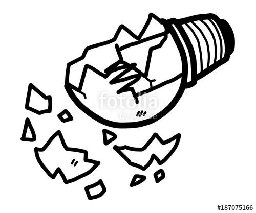 500x417 Broken Light Bulb Cartoon Vector Illustration, Black