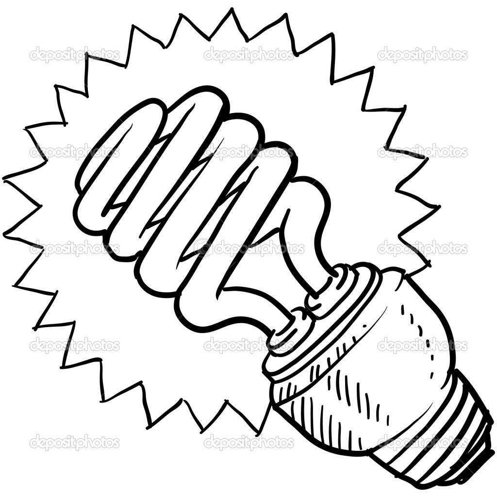 1024x1024 Drawn Light Bulb Flourescent Light