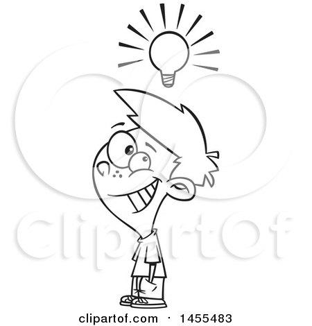450x470 Clipart Of A Cartoon Lineart Smart Boy Under A Light Bulb