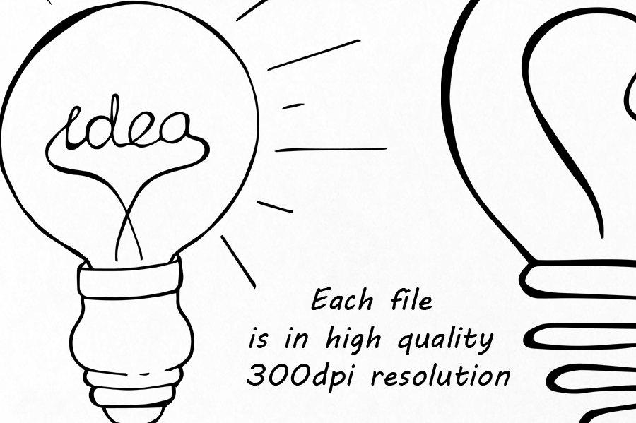 900x599 Doodle Light Bulb Clipart, Hand Drawn Light Bulb Clip Art, Digital