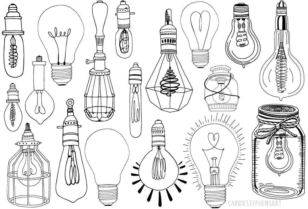 1184x804 Light Bulb Line Art Illustrations