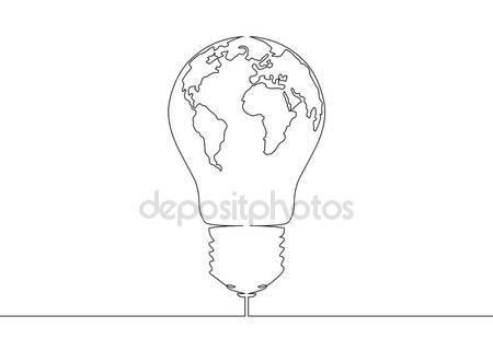450x321 Continuous Line Drawing Light Bulb Symbol Idea Stock Vector