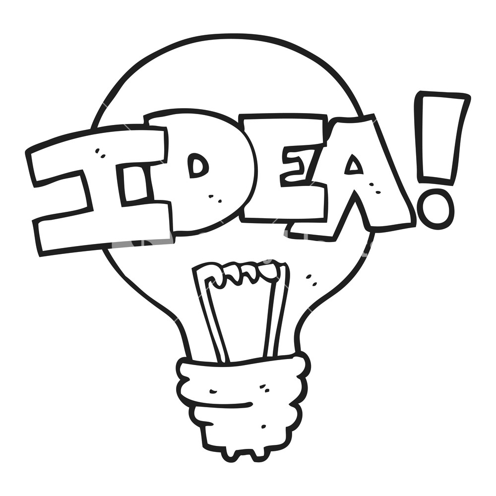 1000x1000 Freehand Drawn Black And White Cartoon Idea Light Bulb Symbol