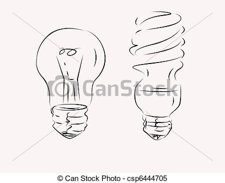 450x366 Bulbs Symbols. Simple Bulb Symbols Drawn By Pencil Stock