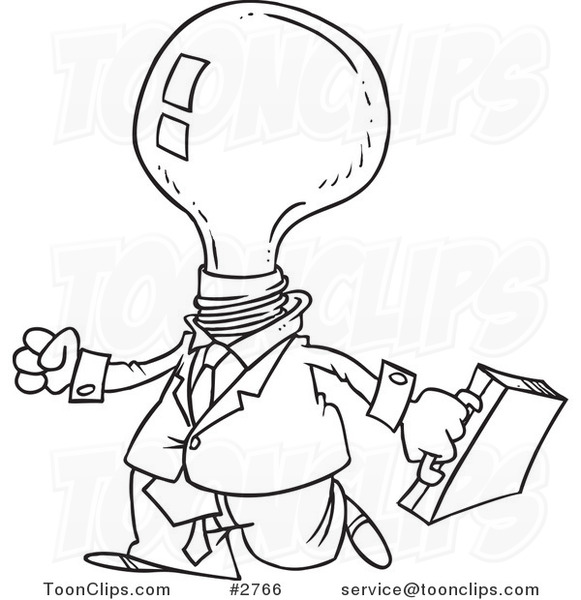 581x600 Cartoon Black And White Line Drawing Of A Light Bulb Headed