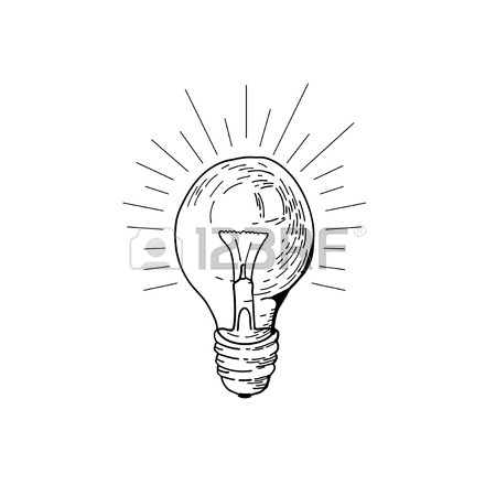 450x450 Lightbulb Icon. Doodle Hand Drawn Sign. Vector Light Bulb. Idea