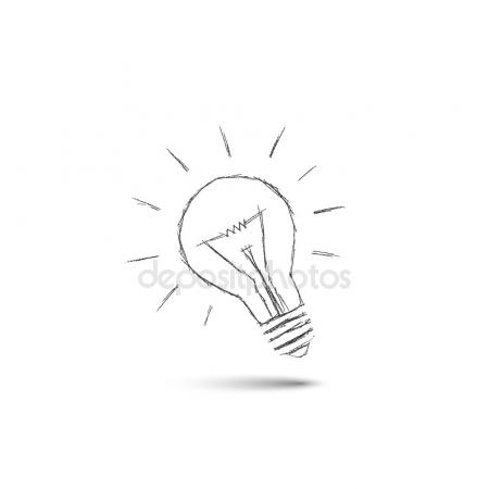 450x450 Lighting Bulb Pencil Drawing, Idea Concept Stock Vector Matc