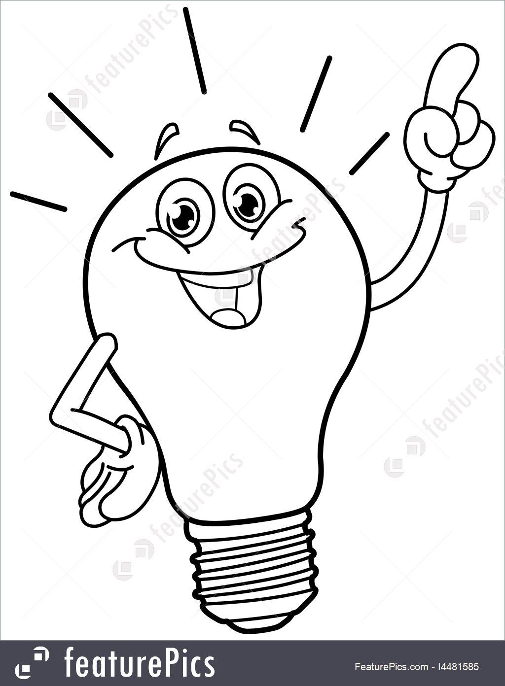 1024x1392 Illustration Of Outlined Cartoon Light Bulb