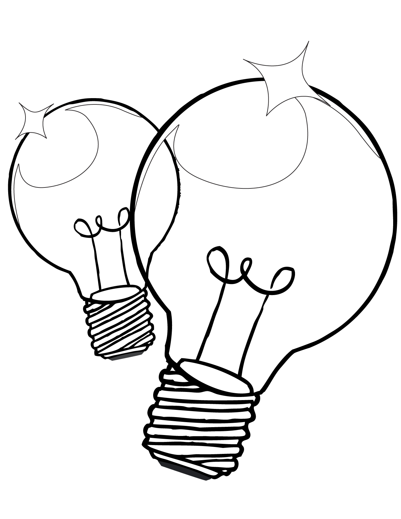 1275x1650 Light Bulb Coloring Sheet Twin Pages