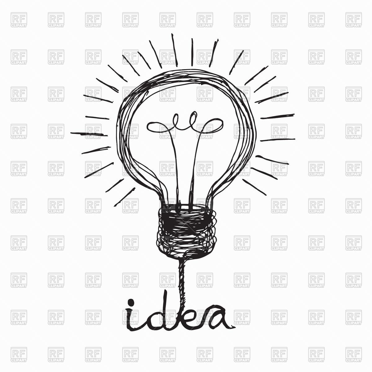 1200x1200 Light Bulb Icon. Doodle Idea Concept. Royalty Free Vector Clip Art