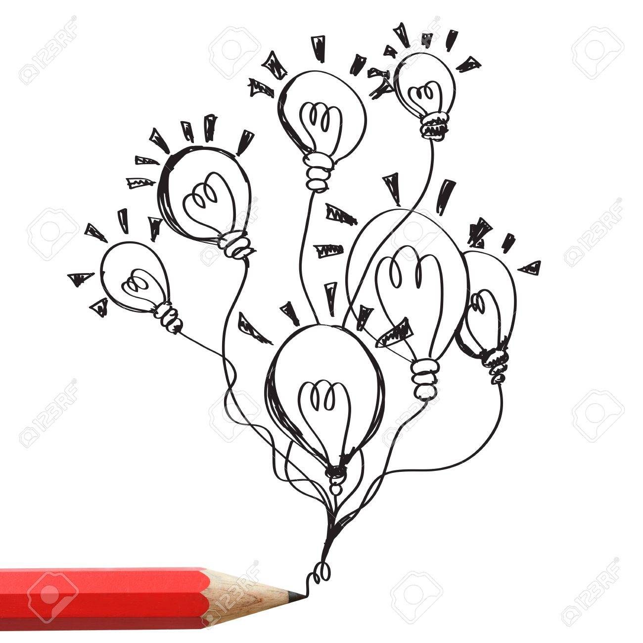 1300x1300 Red Pencil Drawing Light Bulbs Isolated On White Background Stock