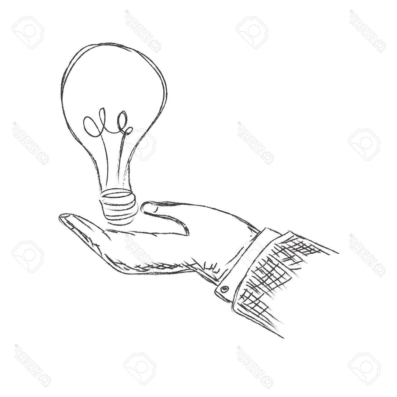 1300x1300 Top Hand Holding Light Bulb Sketch Vector Illustration Stock Library