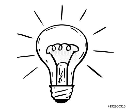 500x431 Cartoon Drawing Illustration Of Shining Light Bulb. Stock Image