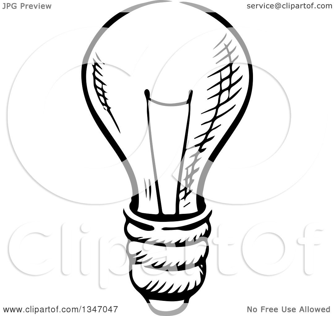 1080x1024 Clipart Of A Black And White Sketched Light Bulb