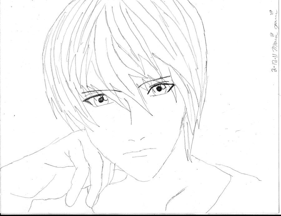 900x691 Light Yagami Sketch By Projectmarissa