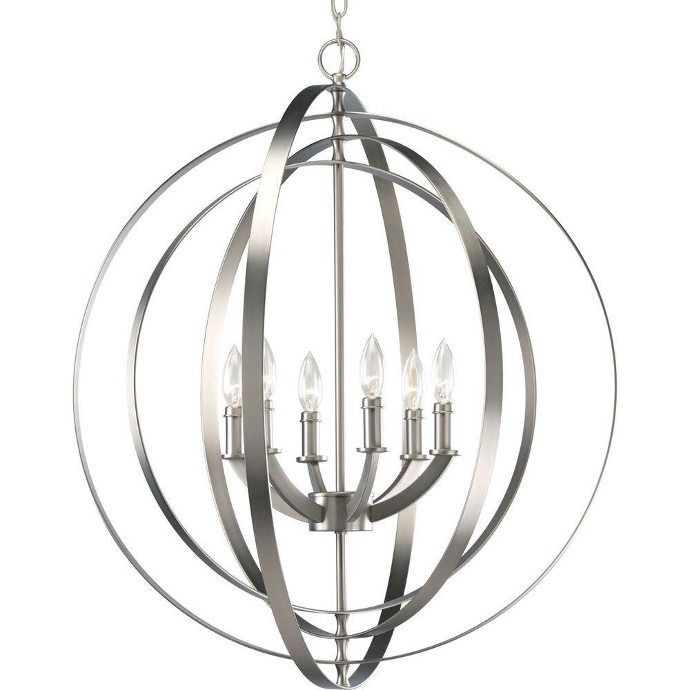 1000x1000 Progress Lighting Equinox Collection 6 Light Burnished Silver Orb