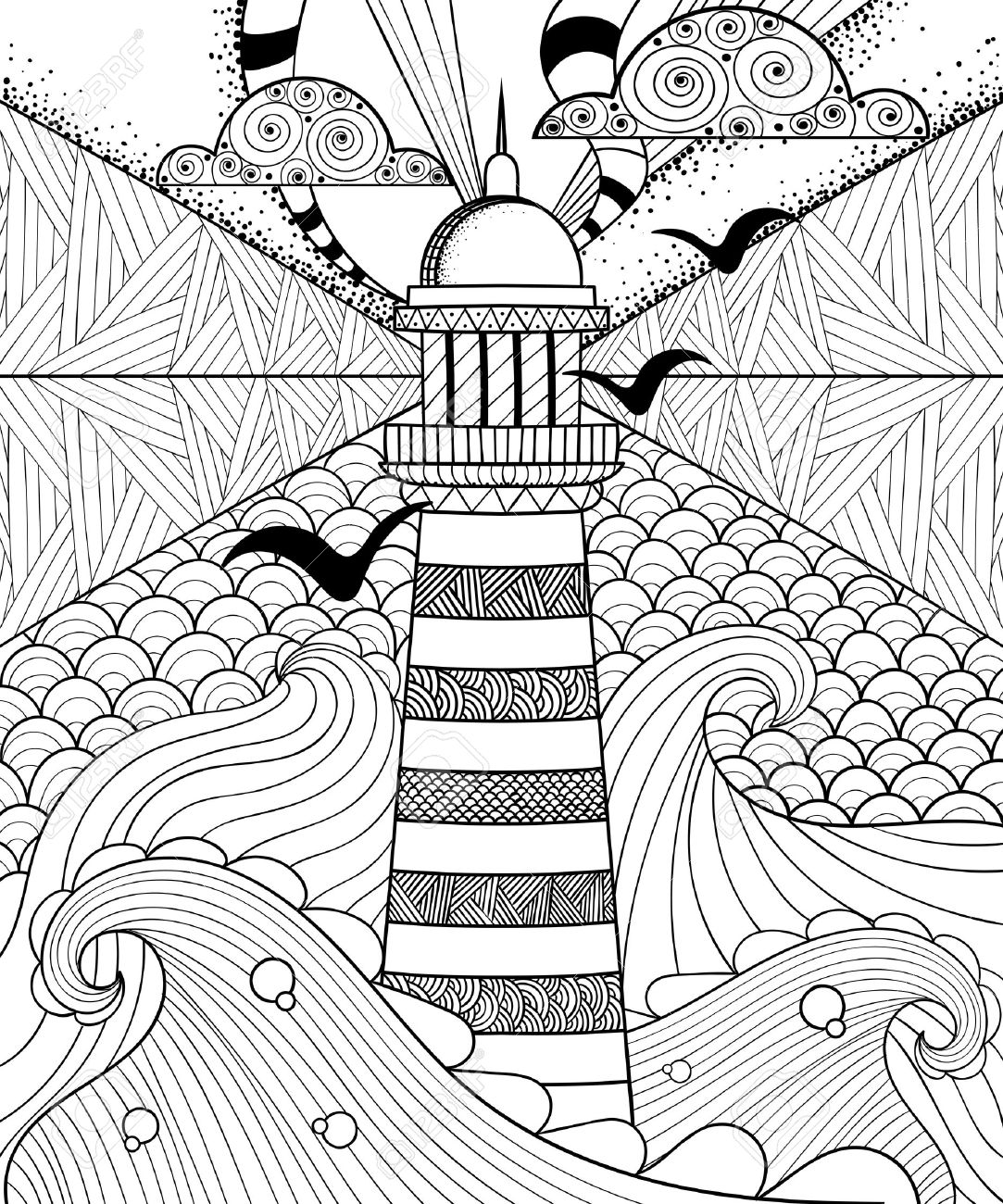 1083x1300 Hand Drawn Artistically Ethnic Ornamental Patterned Lighthouse