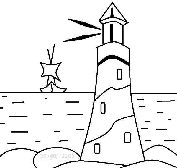 600x568 Lighthouse Giving Sign To A Boat Coloring Pages