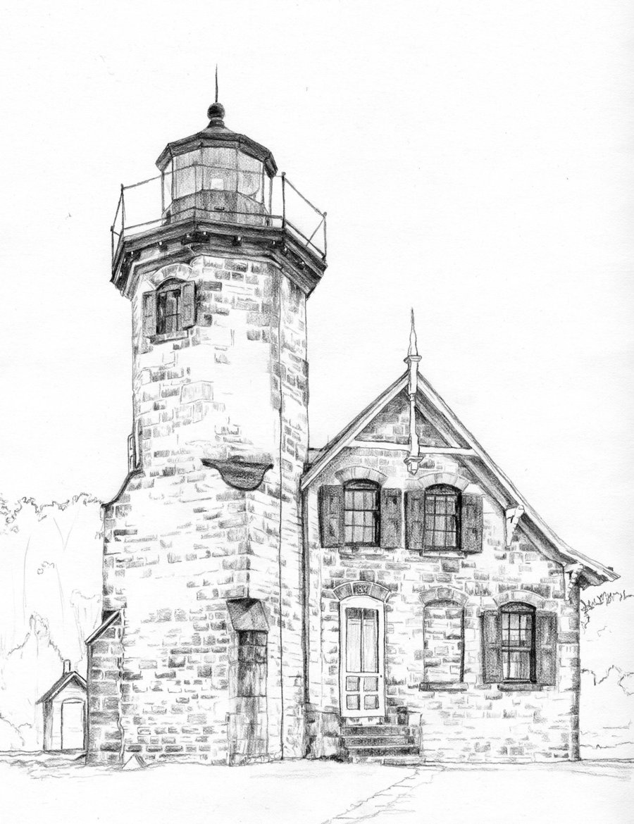 900x1170 Lighthouse By On @ Drawing