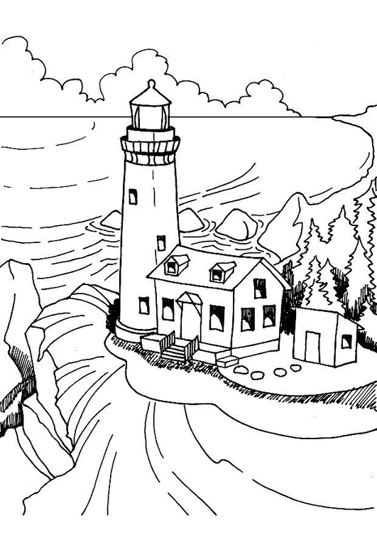 531x750 Coloring Page Lighthouse
