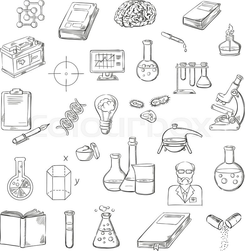 780x800 Scientist With Sketch Symbols Of Microscope, Laboratory Test Tubes