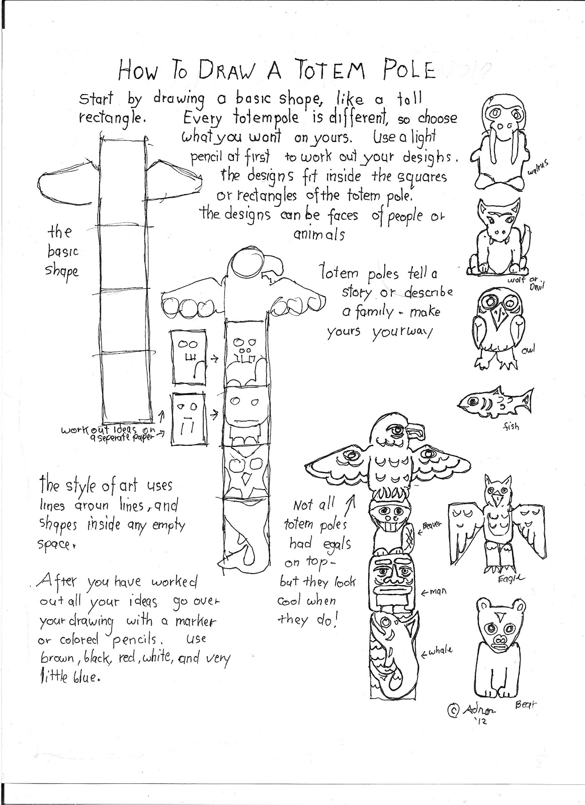 1163x1600 How To Draw Worksheets For The Young Artist How To Draw A Totem