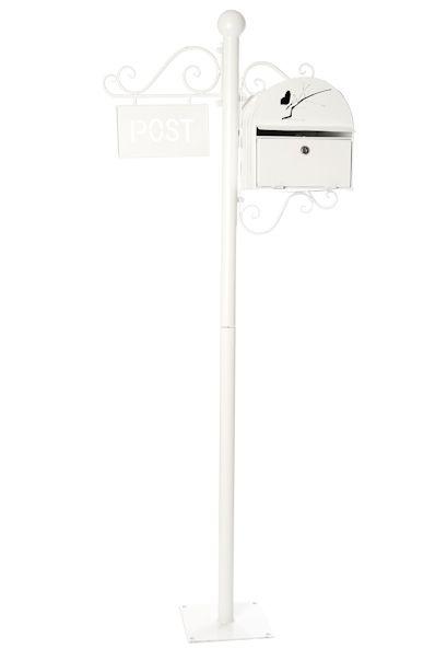 409x614 Metal Post Box White