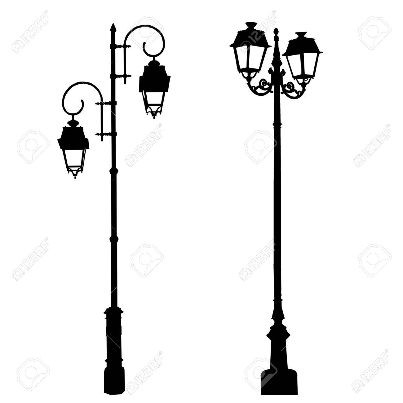 1300x1300 Silhouettes Of Decorative Lamppost On White Background, Vector