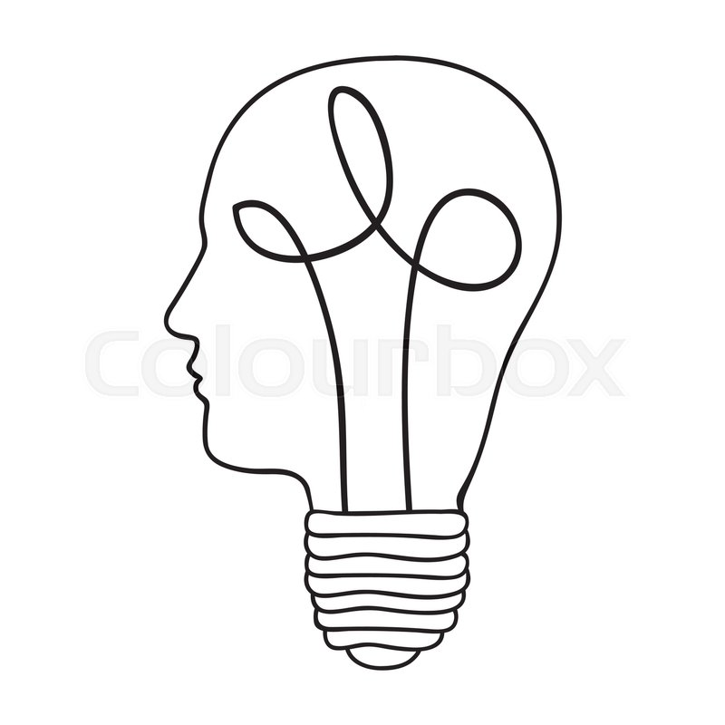 800x800 Head And Lightbulb Abstract Wisdom Icon Image Vector Illustration