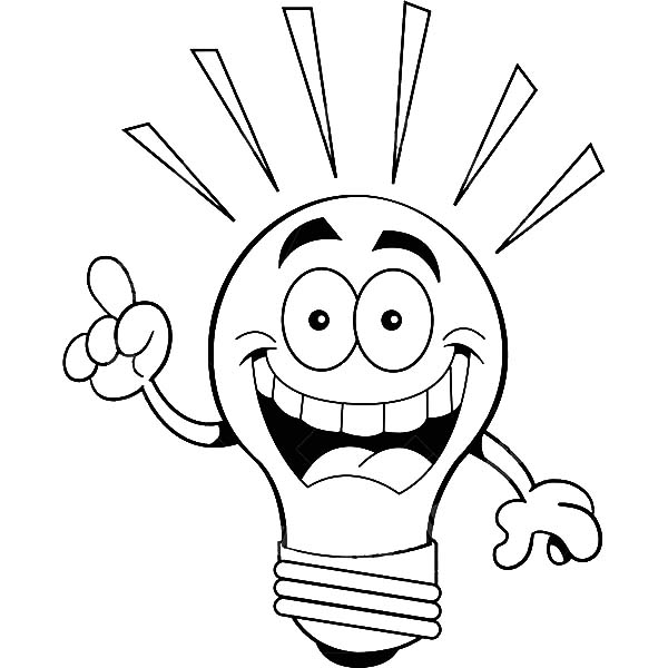 600x600 Light Bulb Coloring Sheet Twin Pages
