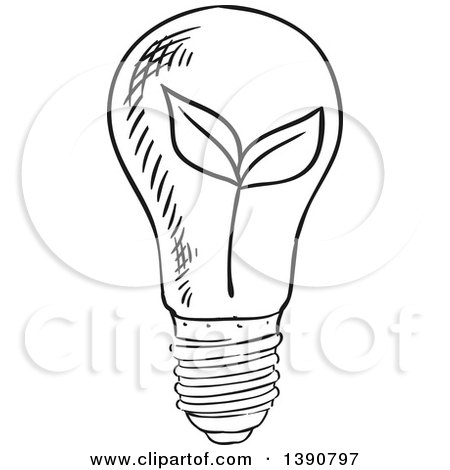 450x470 Light Bulb Clipart Sketched