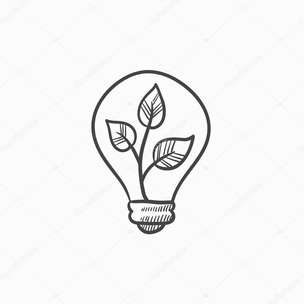 1024x1024 Lightbulb And Plant Inside Sketch Icon. Stock Vector Rastudio