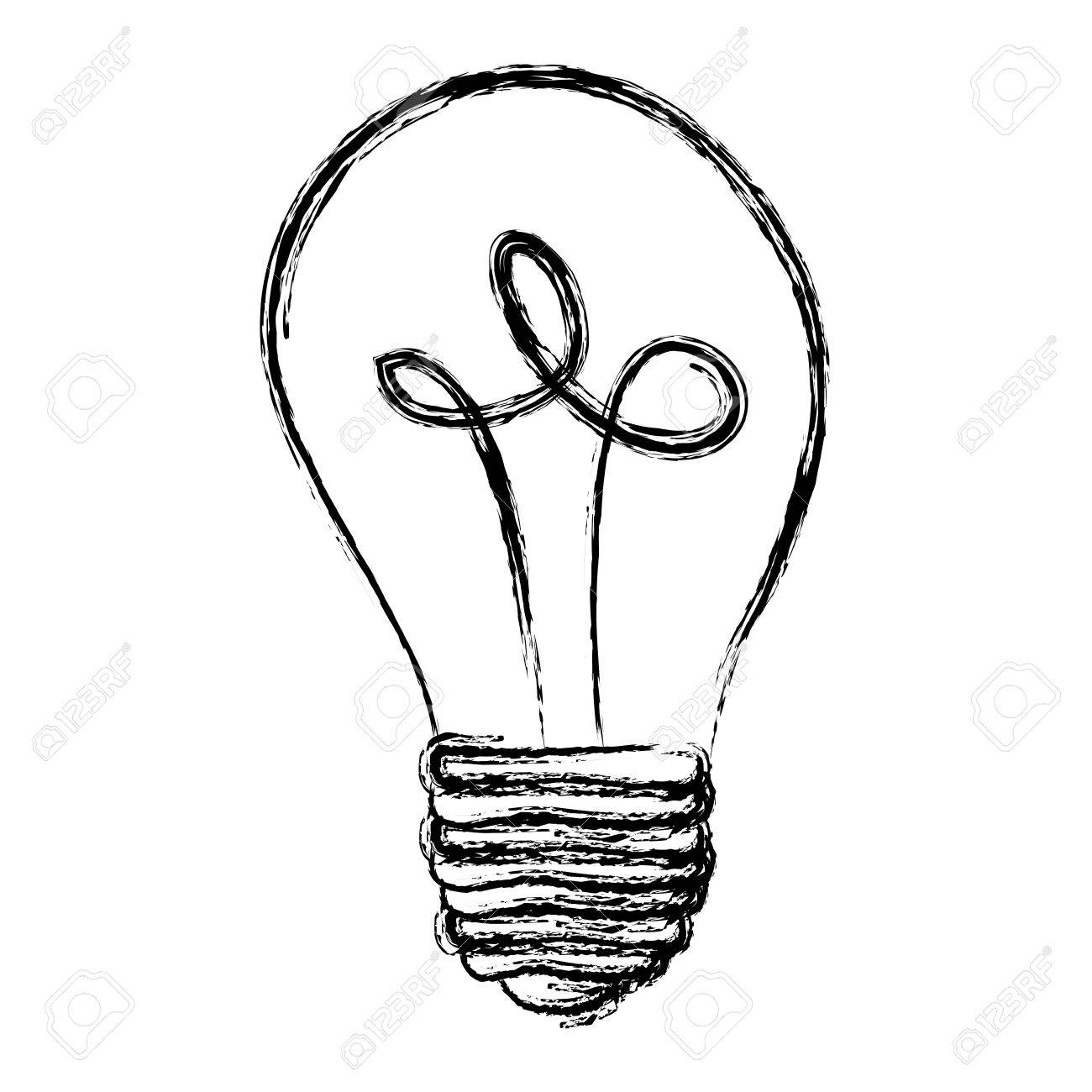 1300x1300 Monochrome Sketch With Silhouette Of Light Bulb Off Vector