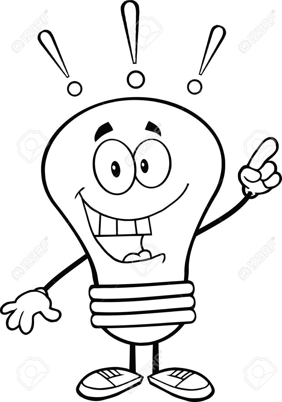 913x1300 Outlined Light Bulb Cartoon Character With A Bright Idea Royalty