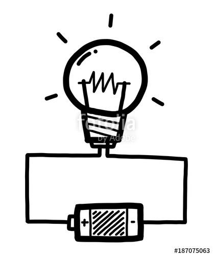 417x500 Light Bulb With Battery Cartoon Vector And Illustration, Black