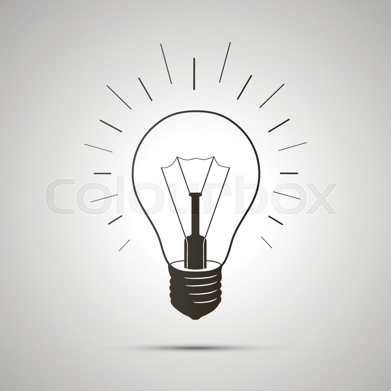 800x800 Black Simple Light Bulb Icon With Shadow On White Background
