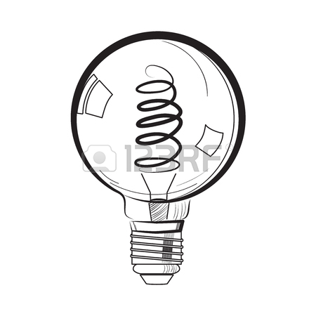 450x450 Colored Incandescent Light Bulb Sketch Royalty Free Cliparts