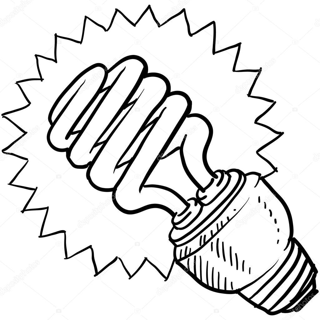1024x1024 Compact Fluorescent Light Bulb Sketch Stock Vector Lhfgraphics