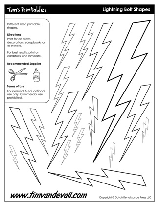 325x421 Printable Lightning Bolt Templates Light Bolt Shape Pdfs