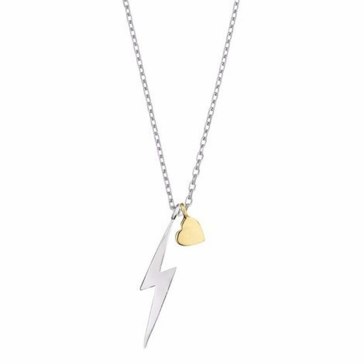 1200x1200 Tone Lightening Bolt And Heart Necklace