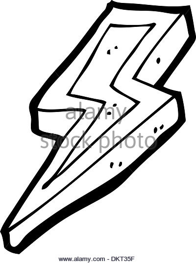 400x540 Cartoon Lightning Bolt Symbol Black And White Stock Photos