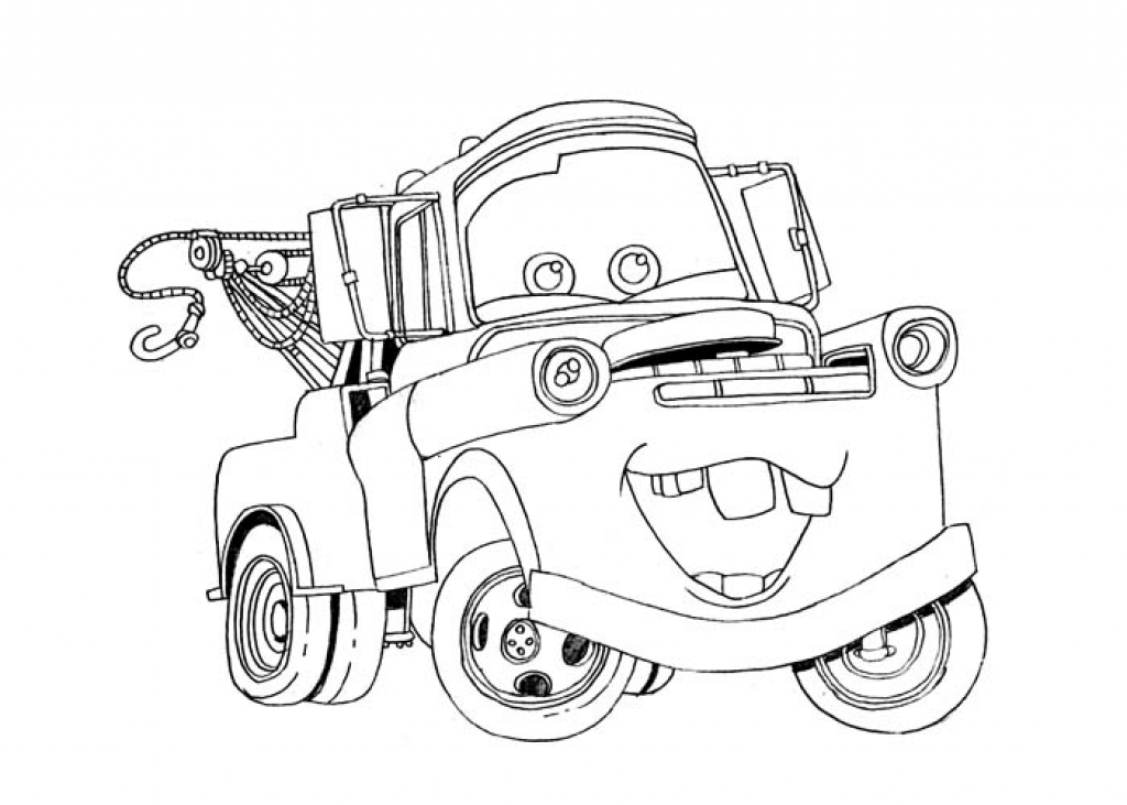 1024x731 Drawing Of Cartoon Mator Mater Coloring Pages Lightning