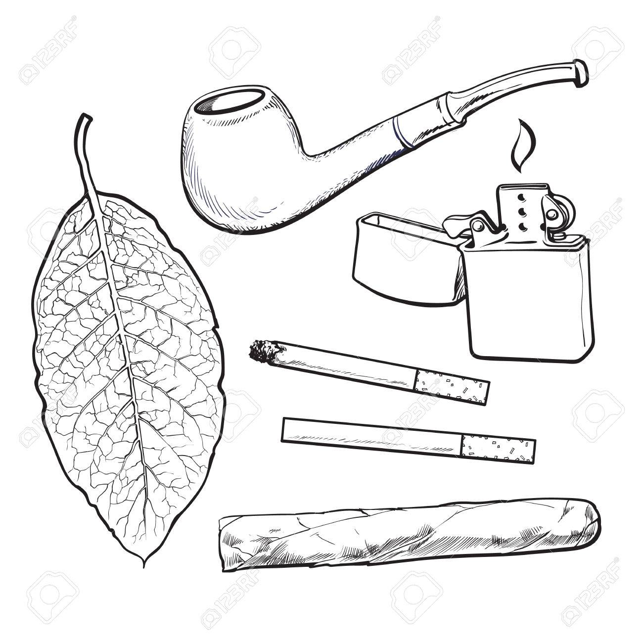 1300x1300 Smoking Pipe, Lighter, Cigar, Cigarettes And Tobacco Leaf, Sketch