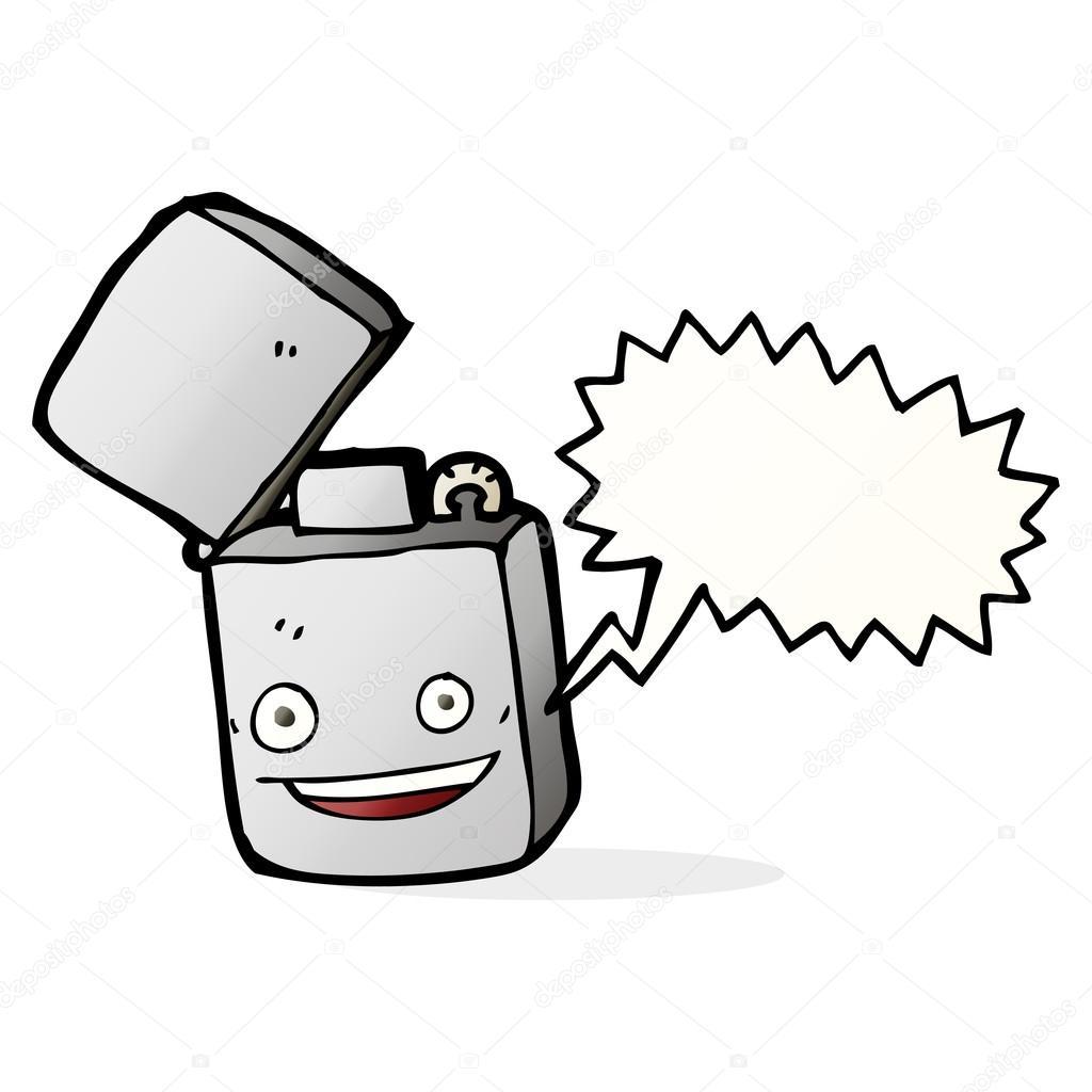 1024x1024 Cartoon Metal Lighter With Speech Bubble Stock Vector